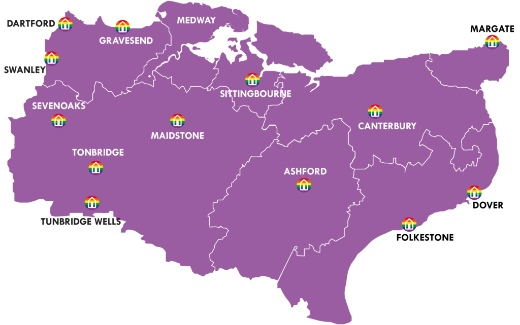 A map showing Kent and Medway showing where BeYou groups are currently running